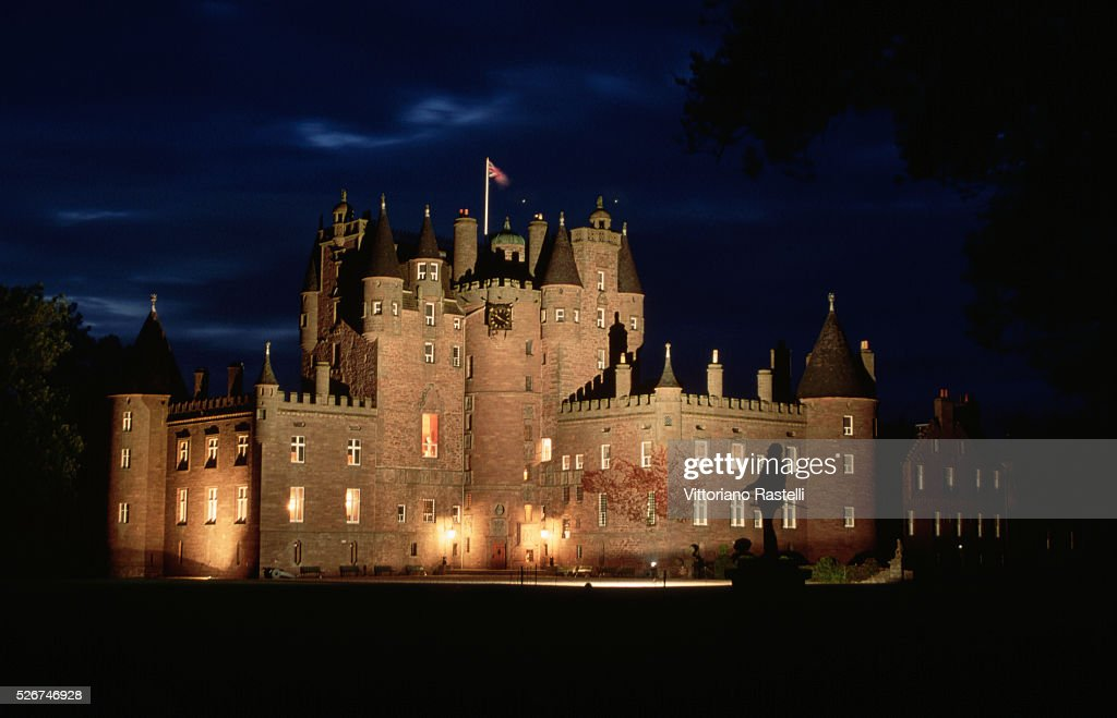 Exterior of Glamis Castle at Night : News Photo