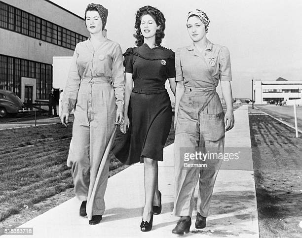 Glamor and safety don't mix according to Lieut Cmdr RR Darron of the Alameda US Naval Air Station Naomi Parker Ada Parker and Frances Johnson show...