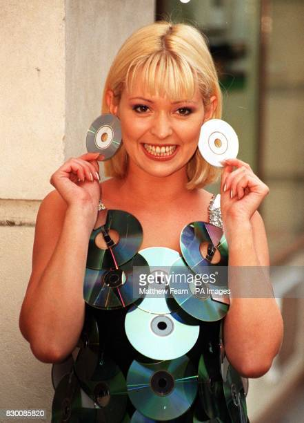 Glamor model Joanne Guest poses for the media in a dress made entirely out of DVD during a photocall in London this morning to officially launch the...