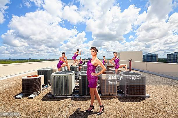 glamor on the rooftops - hvac stock photos and pictures