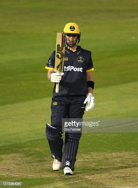 Glamorgan batsman Andrew Balbirnie reaches his half century during the T20 Vitality Blast game between Glamorgan and Gloucestershire at Sophia...