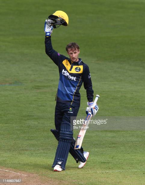 Glamorgan batsman Billy Root celebrates after reaching his century during the Royal London One Day Cup match between Glamorgan and Surrey at Sophia...