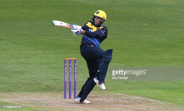 Glamorgan batsman Billy Root hits out during the Royal London One Day Cup match between Glamorgan and Surrey at Sophia Gardens on April 28, 2019 in...