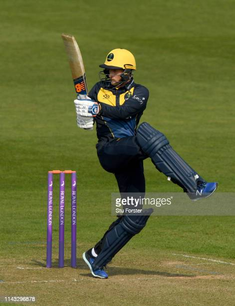Glamorgan batsman Billy Root in action during the Royal London One Day Cup match between Glamorgan and Essex at Sophia Gardens on April 17, 2019 in...