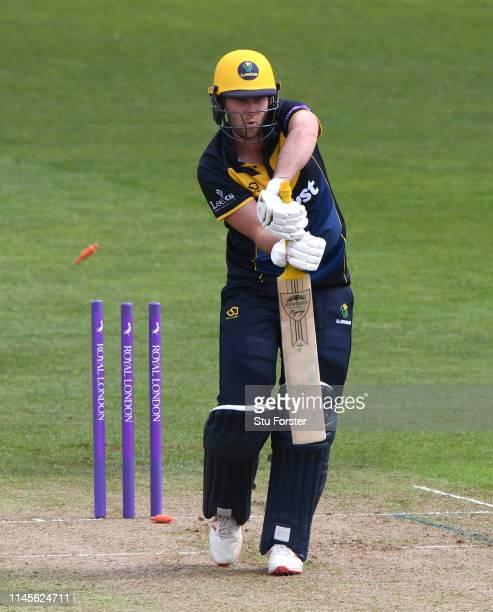 Glamorgan batsman Chris Cooke is bowled by Morne Morkelduring the Royal London One Day Cup match between Glamorgan and Surrey at Sophia Gardens on...