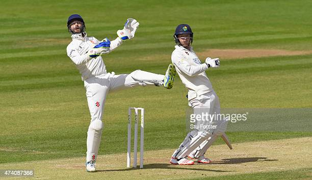 Glamorgan batsman Graham Wagg and Essex wicketkeeper James Foster react as a ball from bowler David Masters goes over their heads during day three of...