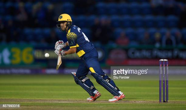 Glamorgan batsman Jacques Rudolph picks up some runs during the NatWest T20 Blast QuarterFinal match between Glamorgan and Leicestershire Foxes at...