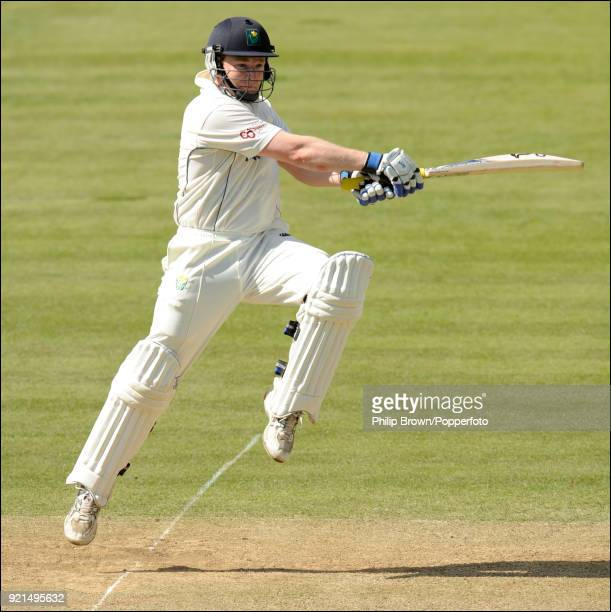 Glamorgan batsman Jamie Dalrymple hits a boundary during his innings of 112 not out in the LV County Championship match between Middlesex and...