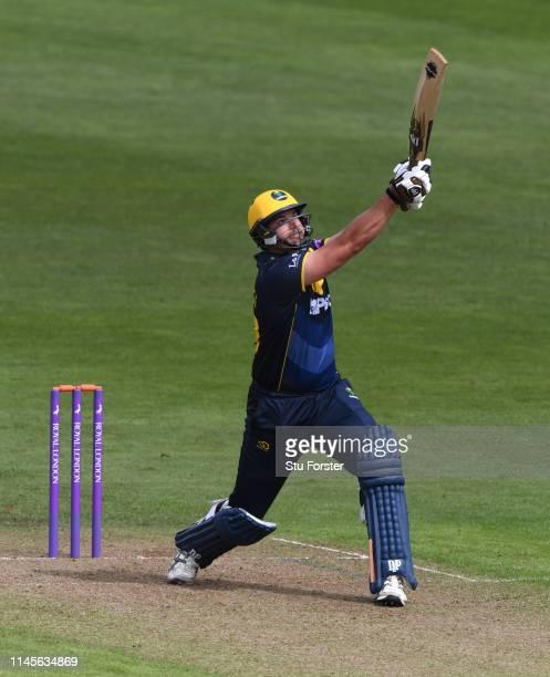 Glamorgan batsman Marchant de Lange hits a six during the Royal London One Day Cup match between Glamorgan and Surrey at Sophia Gardens on April 28,...