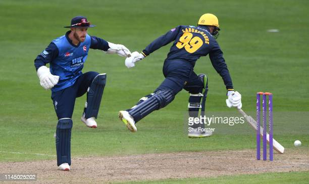 Glamorgan batsman Marnus Labuschagne makes his ground as wicketkeeper Adam Rouse reacts during the Royal London One Day Cup match between Glamorgan...