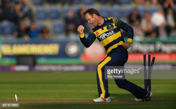 Glamorgan bowler Colin Ingram celebrates after running out Leicestershire batsman Aadil Ali during the NatWest T20 Blast Quarter-Final match between...