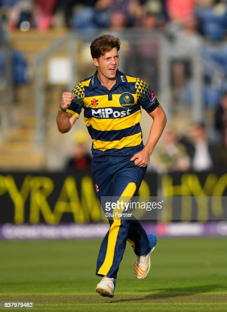 Glamorgan bowler Craig Meschede celebrates with team mates after dismissing Leicestershire batsman Colin Ackerman during the NatWest T20 Blast...