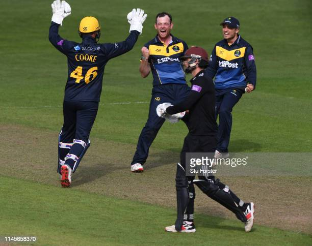 Glamorgan bowler Graham Wagg celebrates after dismissing Surrey batsman Ben Foakes during the Royal London One Day Cup match between Glamorgan and...