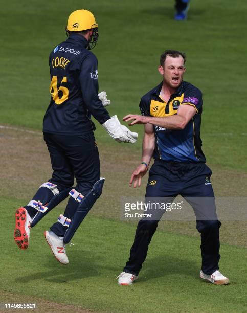Glamorgan bowler Graham Wagg celebrates after dismissing Surrey batsman Jamie Smith during the Royal London One Day Cup match between Glamorgan and...