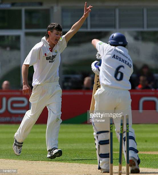 Glamorgan bowler James Harris celebrates after taking the wicket of Gloucestershire batsman Steve Adshead becoming the youngest bowler to take 10...