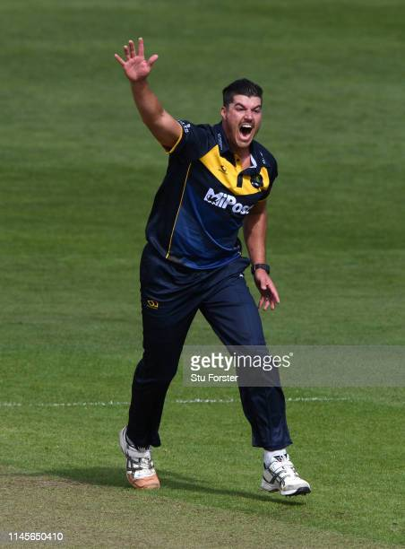 Glamorgan bowler Marchant de Lange celebrates after bowling Surrey batsman Will Jacks during the Royal London One Day Cup match between Glamorgan and...