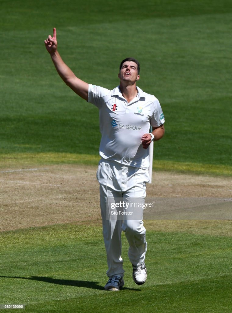 Glamorgan bowler Marchant de Lange celebrates after dismissing Cheteshwar Pujara during Day One of the Specsavers County Championship Divsion Two match between Glamorgan and Nottinghamshire at SWALEC Stadium on May 19, 2017 in Cardiff, Wales.