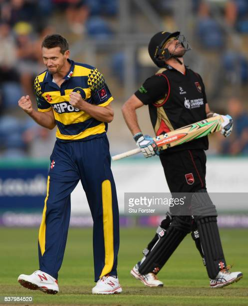 Glamorgan bowler Michael Hogan celebrates after dismissing Leicestershire batsman Clint McKay during the NatWest T20 Blast QuarterFinal match between...