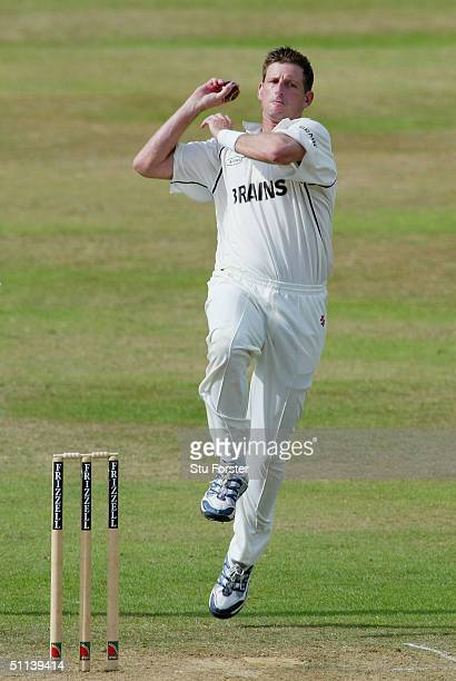 Glamorgan bowler Michael Kasprowicz bowls during the Frizzell County Championship game between Somerset and Glamorgan at The County Ground on August...