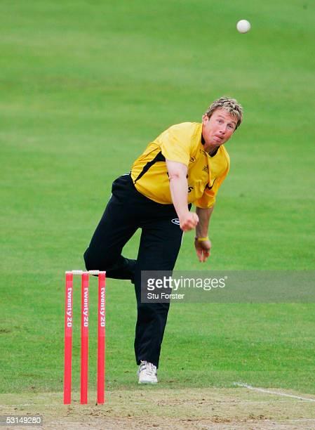 Glamorgan bowler Robert Croft bowls from way behind the crease during The Twenty 20 game between Glamorgan and Warwickshire at St Helens on June 25...
