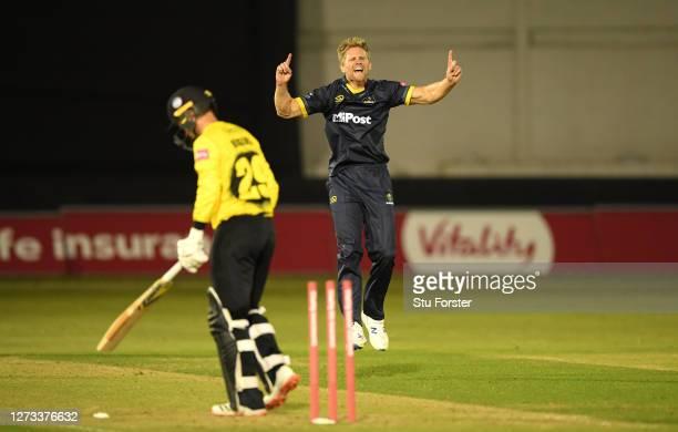 Glamorgan bowler Tim van der Gugten celebrates after taking the wicket of batsman Ryan Higgins during the T20 Vitality Blast game between Glamorgan...