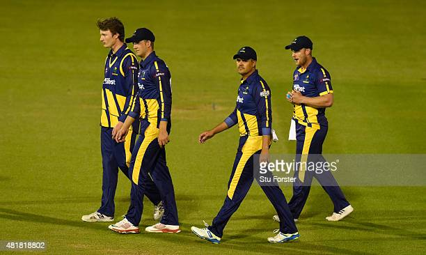 Glamorgan captain Jacques Rudolph and team mates leave the field after loosing the NatWest T20 Blast between Glamorgan and Gloucestershire at the...