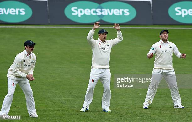 Glamorgan captain Jacques Rudolph and the slip cordon react during day two of the Specsavers second division County Championship match between...