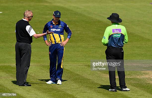 Glamorgan captain Jacques Rudolph chats with match liaison officer Tony Pigott and subsequently the match is abandoned due to a dangerous pitch...