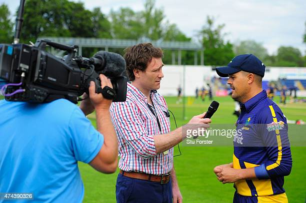 Glamorgan captain Jacques Rudolph is interviewed before the NatWest T20 Blast match between Glamorgan and Essex at SWALEC Stadium on May 22 2015 in...