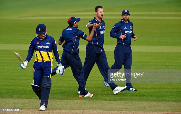 Glamorgan captain Jacques Rudolph leaves the field after being bowled by Essex bowler Shaun Tait during the NatWest T20 Blast match between Glamorgan...