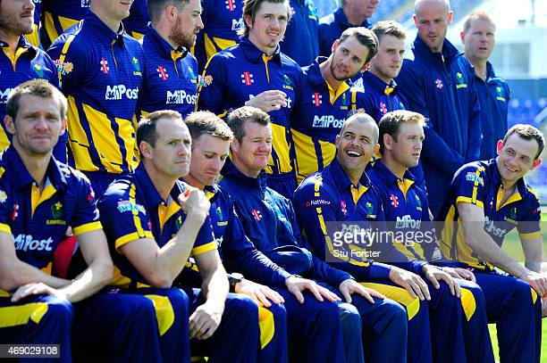 Glamorgan captain Jacques Rudolph shares a joke with head coach Toby Radford and team mates during the Glamorgan Cricket media day ahead of the 2015...