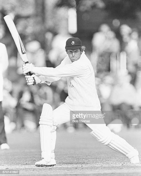 Glamorgan cricketer Alan Jones batting during a match, circa 1975.
