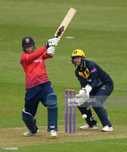 Glamorgan keeper Chris Cooke looks on as Essex batsman Tom Westley hits out during the Royal London One Day Cup match between Glamorgan and Essex at...