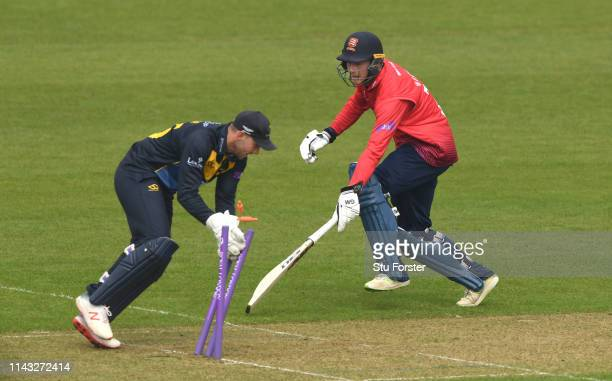 Glamorgan keeper Chris Cooke runs out Essex batsman Tom Westley but is given not out by the umpire during the Royal London One Day Cup match between...