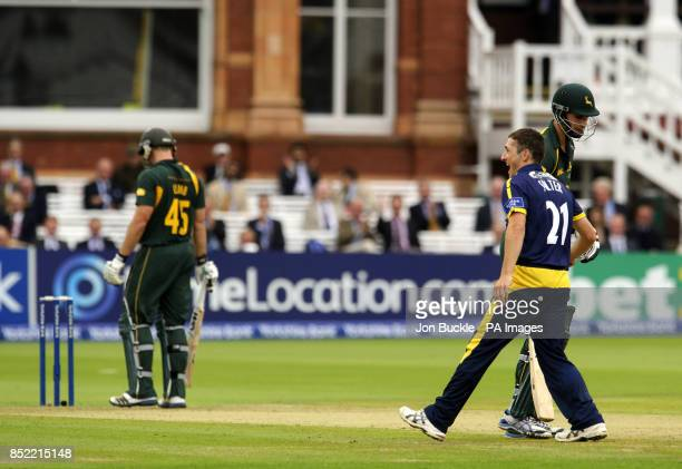 Glamorgan's Andrew Salter celebrates claiming the wicket of Nottinghamshire's Michael Lumb during the Yorkshire Bank Pro40 Final at Lord's Cricket...