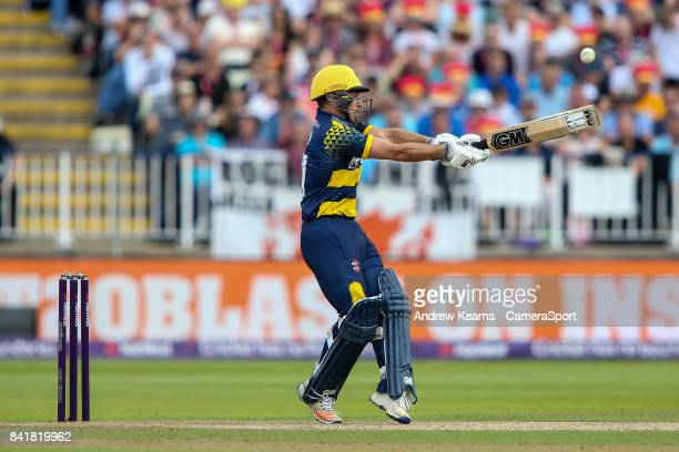 Glamorgan's Andrew Salter hits the ball to the boundary for four during the NatWest T20 Blast SemiFinal match between Birmingham Bears and Glamorgan...