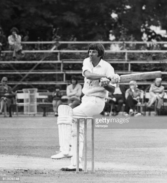Glamorgan's batsman Roger Davis hits a ball against Warwickshire at Sophia Gardens. Circa 1973.