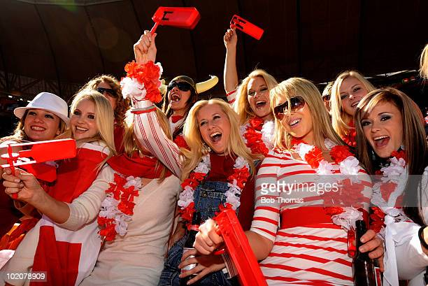Glamorous Danish fans before the start of the 2010 FIFA World Cup Group E match between Netherlands and Denmark at Soccer City Stadium on June 14...