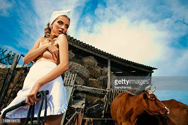 glamorous milkmaid - milk maid stock photos and pictures
