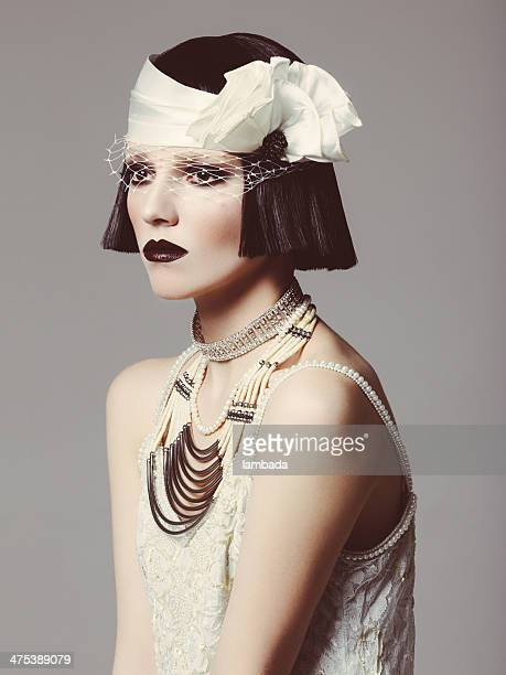 glamorous retro diva - roaring 20s stock photos and pictures