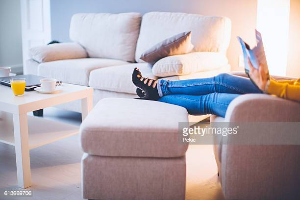Glamorous woman relaxing at home