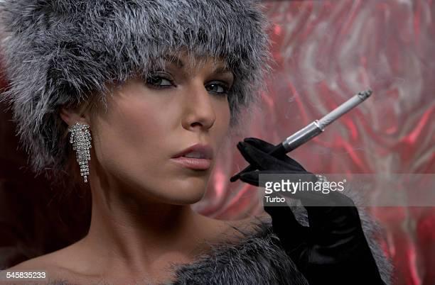 Glamorous Woman Smoking Cigarette