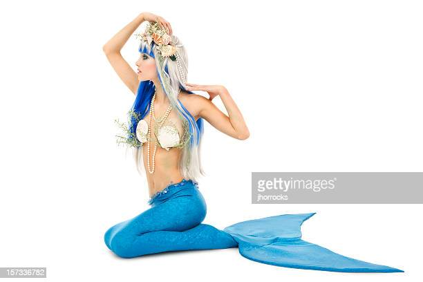 glamorous young mermaid on white - mermaid stock photos and pictures