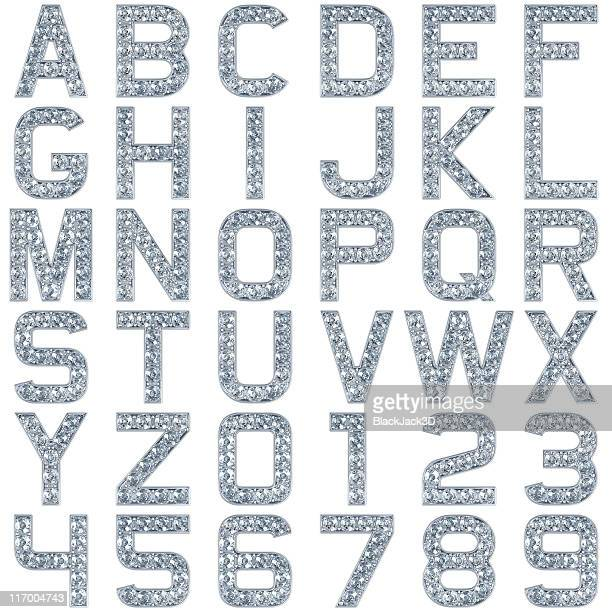 glamour alphabet. include numerals! isolated on white - font stock pictures, royalty-free photos & images