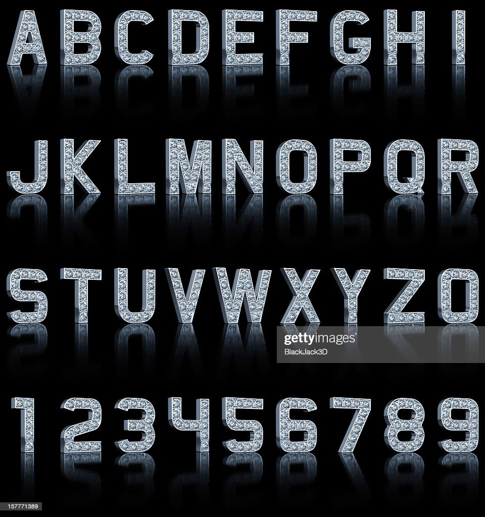 Glamour Alphabet On Black : Stock Photo