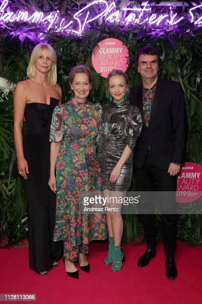Glamour Beauty Director Stefanie Neureuter, Janin Ullmann and Glamour Publisher Andre Pollmann arrive at the Glammy Award on February 07, 2019 in...