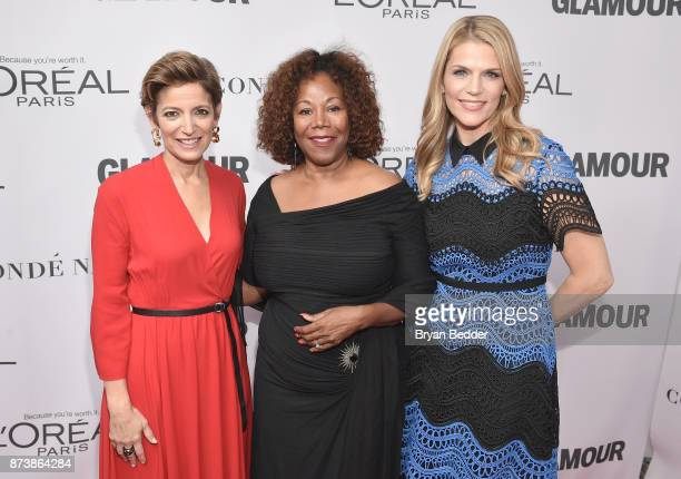 Glamour editor in chief Cindi Leive Ruby Bridges and Alison Moore pose at Glamour's 2017 Women of The Year Awards at Kings Theatre on November 13...