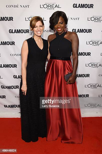 Glamour editor in chief Cynthia Leive and actress Viola Davis attend 2015 Glamour Women Of The Year Awards at Carnegie Hall on November 9 2015 in New...