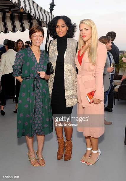 Glamour EditorinChief Cindi Leive actress Tracee Ellis Ross and actress Busy Philipps attend a dinner to celebrate Glamour's June Success Issue...