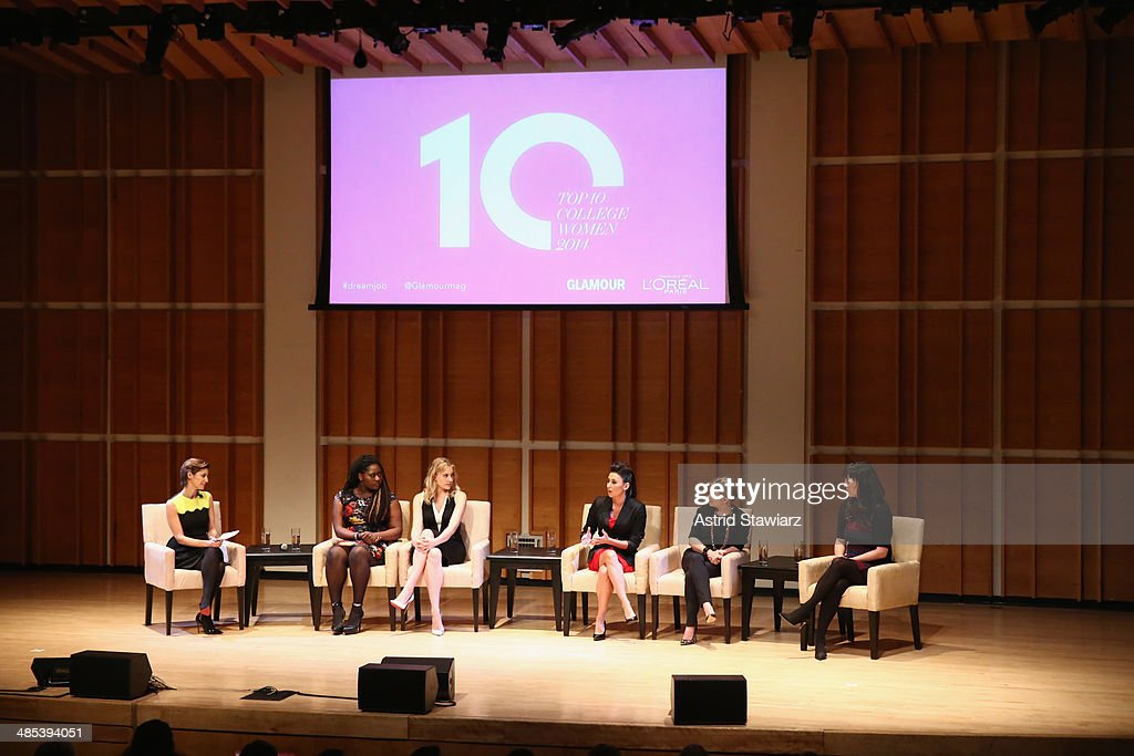 Glamour Editor-In-Chief Cindi Leive; Actresses Danielle Brooks and Greta Gerwig; Chef, nutritionist, media personality Gina Keatley; Television Producer Dyllan McGee; TV producer and screenwriter Colleen McGuinness participate in a panel discussion during Glamour And L'Oreal Paris 2014 Top Ten College Women Celebration at Kaufman Music Center on April 17, 2014 in New York City.